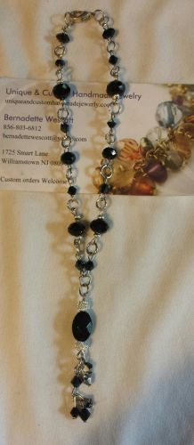 black and silver glass handmade anklet sizing available