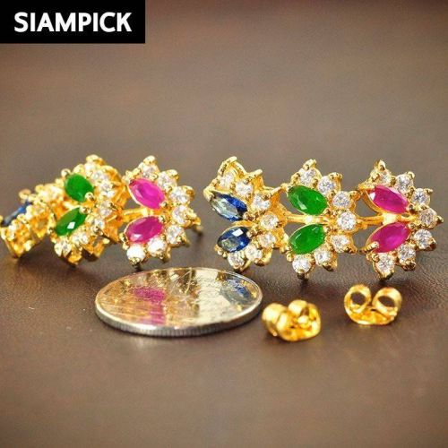 22k 24k Sapphire RUBY Multi Color CZ Thai Baht Yellow Gold GP Necklace Earrings