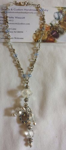 heart blue and clear glass crystal handmade anklet sizing available