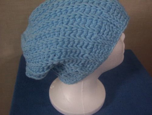 Handmade Crocheted Light Blue Ribbed Women's Teens Slouch Hat