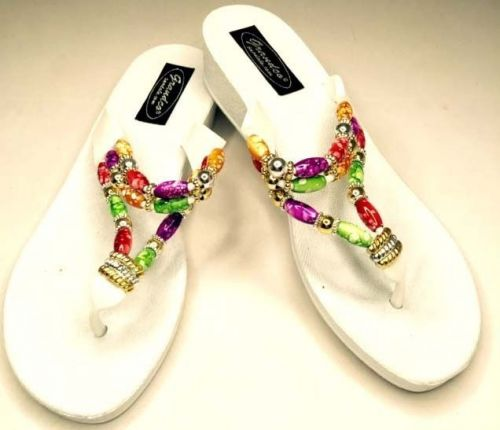 Grandco Beaded Sandals Flip Flop Slides Women Thong Shoes Pools Beach Resort 7 8