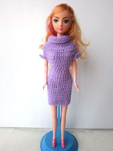 VINTAGE CLASSICAL PURPLE YARN CROCHET DRESS OUTFIT CLOTHES FOR BARBIE DOLL 12""