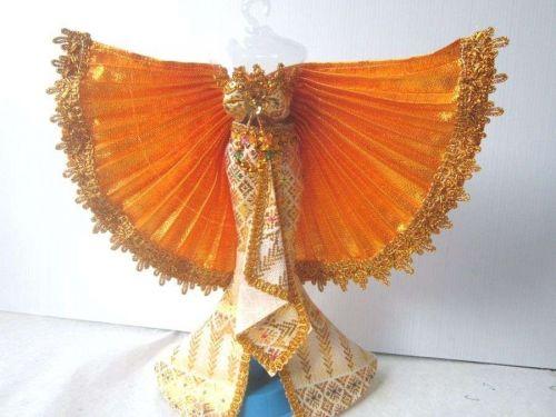 THAI CABATET YELLOW BARBIE CLOTHES GROWN DRESS FASHION FOR BARBIE DOLLS HANDMADE