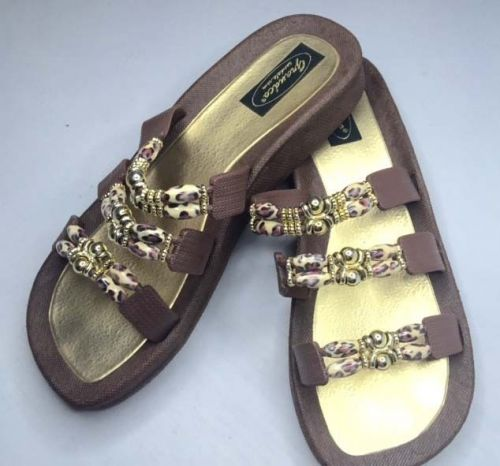 Grandco Cheetah Jeweled Sandals Flip Flop Slide Pools Beach Resort Brown