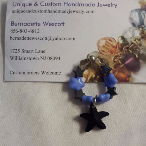 star blue black and gray handmade ring can be made in any size