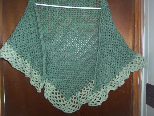 Hand Crocheted Dark and Light Sage Woman's Teens Lacy Scarf Shawl Wrap