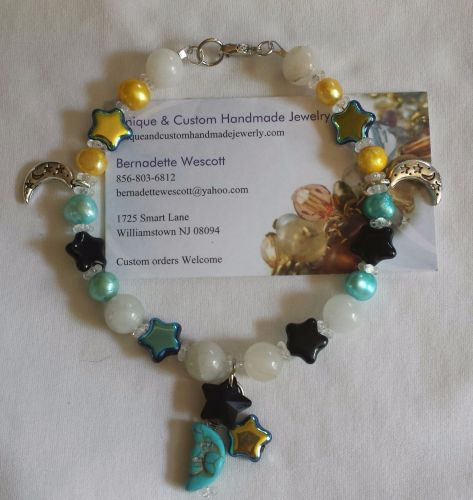 star and moon blue black and yellow handmade anklet sizing available