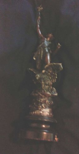 "Antique Bronze Plated ""Le Jour"" Statuette on Wooden Base"