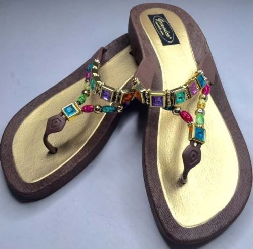 Grandco Beaded Sandals Flip Flop Slides Women Footwear Pools Brown 8 9