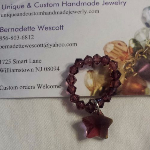 star purple glass and crystal handmade ring can be made in any size