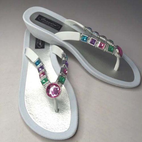 Beaded Sandals Flip Flop Slides Women Footwear Shoes Pool Lake White 8 9 10