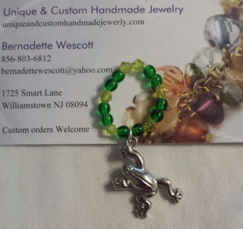 frog pewter and glass handmade ring can be made in any size