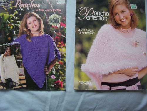 Lot of 2 Knit and Crochet Poncho Pattern Booklets