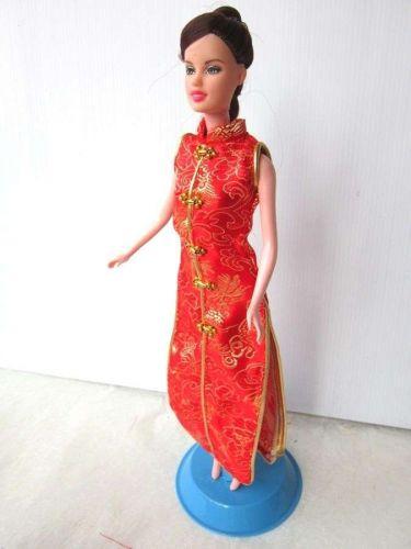 "RED CHEONGSAM DRESS UP FANCY GROWN CLOTHES HANDMADE FASHION FOR BARBIE DOLLS 12"""
