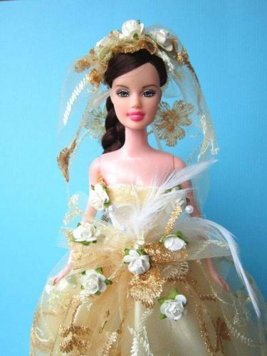 """WEDDING GOWN PARTY YELLOW DRESS UP HANDMADM CLOTHES COSTUME FOR BARBIE DOLLS 12"""""""