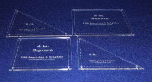 """4 Piece Square & Triangle Set 4"""" & 5"""" -- """" Clear Acrylic - Quilt Templates- 1/8"""""""