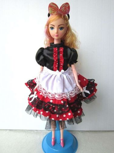 MAID STYLE FANCY DRESS UP BLACK OUTFIT HANDMADE COSTUMES FOR BARBIE DOLLS 12""