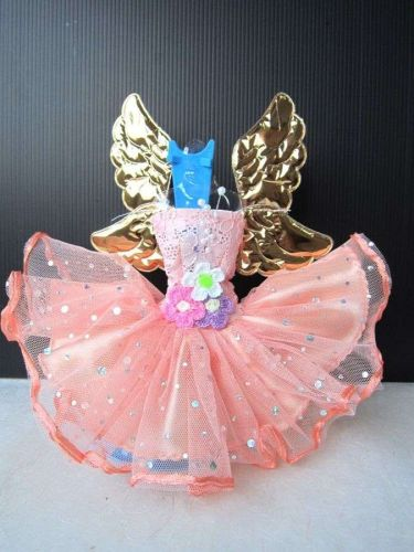 FANCY ANGEL WINGS ORANGE HANDMADE COSTUMES FOR BARBIE, DOLLS DRESS UP CLOTHES