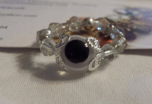 evil eye clear glass handmade ring can be made in any size