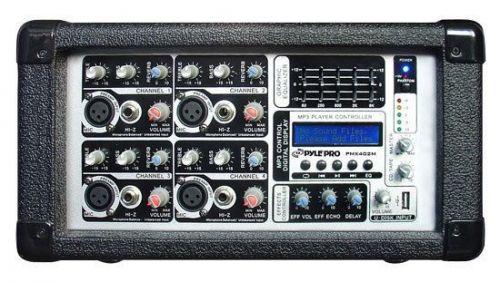 PylePro 4 Channel 400 Watts Powered Mixer w/ MP3 USB