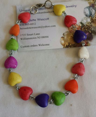 heart multi colored handmade anklet can be made in any size
