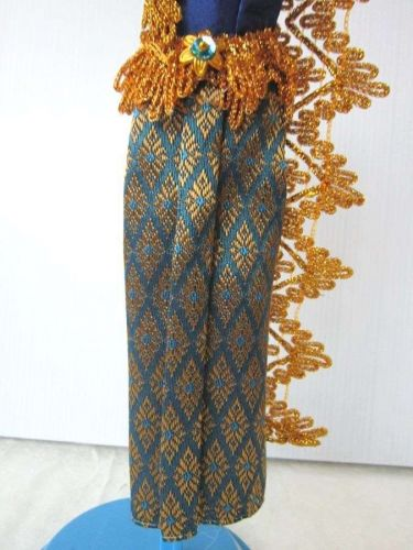 """BLUE THAI NATIONAL TRADITIONAL DRESS UP HANDMADE FOR BARBIE, Dolls 12"""" COSTUMES"""