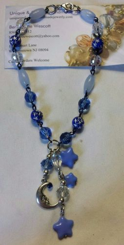star and moon blue and clear glass and acrylic silver plated handmade anklet