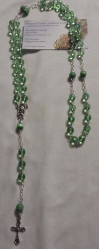 green glass and cat's eyel handmade rosary