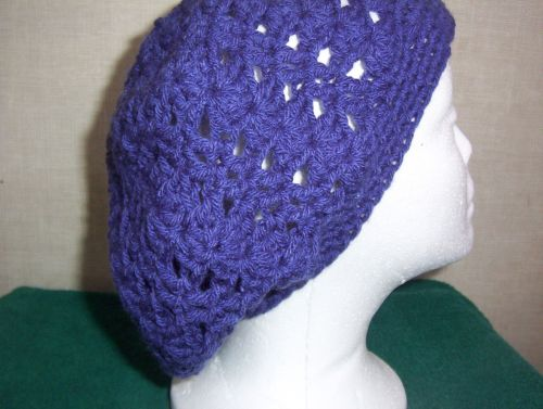 Hand Crocheted Lacy Woman's Purple Slouch Hat