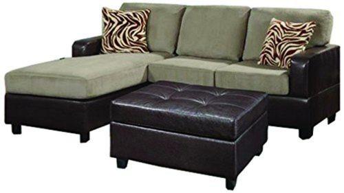 Bobkona Manhanttan Reversible Microfiber 3-Piece Sectional Sofa with Faux Lea...