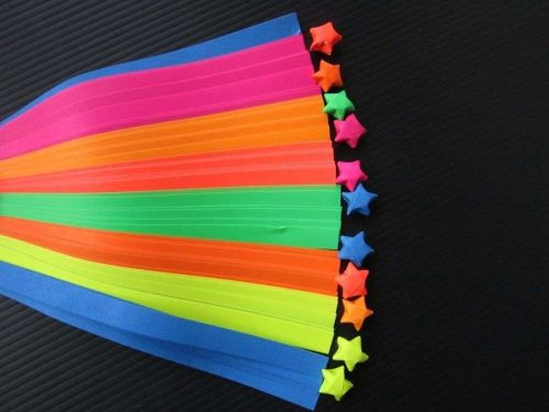 140 STRIPS ORIGAMI PAPER STAR FOLDING KIT LUCKY WISH STAR REFLECTIVE COLOR 7mm