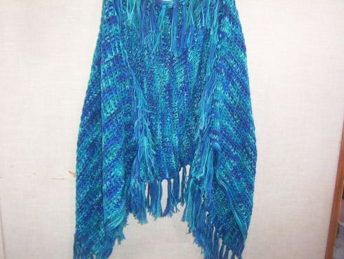 Hand Crocheted Tunisian Lacy Stitch Blue Ombre Fringed Woman's Teen Shawl Wrap