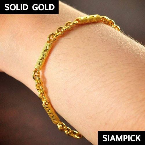 23K/24K 96.5% of Thai Solid Gold Bracelet Pure Yellow Dangle Real Jewelry SG005
