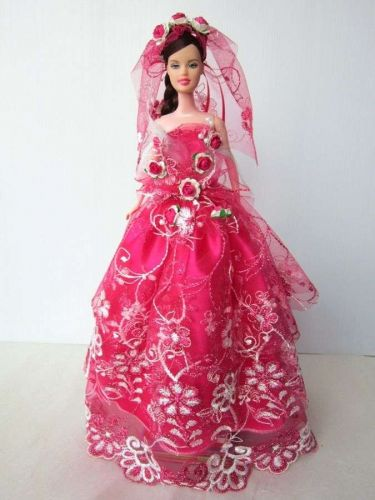 PINK WEDDING GOWN PARTY DRESS UP HANDMADM CLOTHES COSTUME FOR BARBIE DOLLS 12""