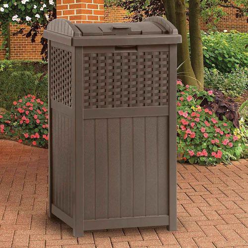 NEW Suncast Wicker Trash Hideaway Brown Outdoor Resin Trashcan