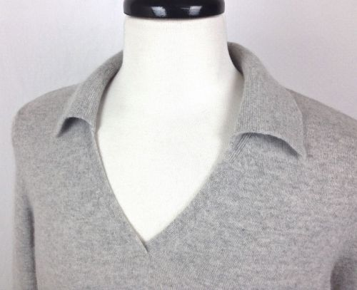 Lands End Cashmere Sweater L Mens Gray Long Sleeve