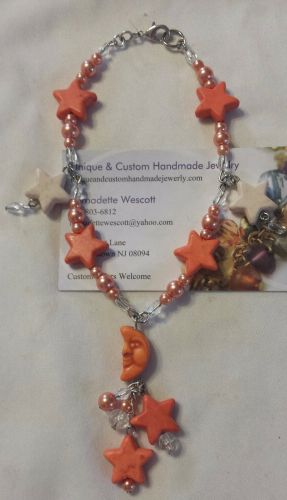 star and moon peach/orange and white silver plated handmade anklet, sizing avail