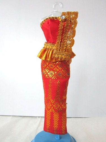 "RED THAI NATIONAL TRADITIONAL DRESS UP HANDMADE FOR BARBIE, Dolls 12"" COSTUMES"