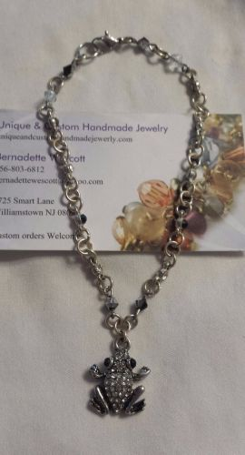 frog black and clear handmade anklet custom sizing available