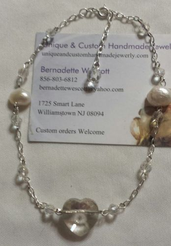 sterling silver heart with pearls handmade anklet sizing available