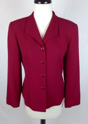 Talbots Jacket Womens 8 Pink Wool Long Sleeve