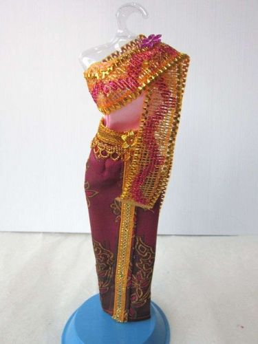"""THAI NATIONAL TRADITIONAL PINK DRESS UP COSTUMES HANDMADE FOR BARBIE, DOLLS 12"""""""