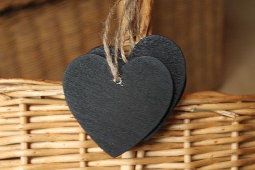 US Seller 10 Pcs Mini Heart Chalkboard Blackboard With String Label & Tags