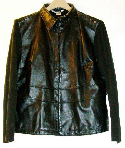EUC youth sz. L NYGARD, Black, leather/knitted, snap closure jacket