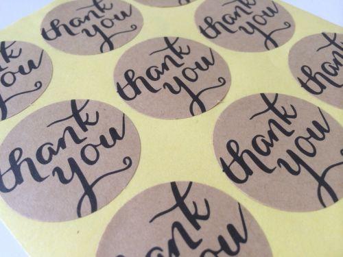 US Seller Set of 72 Kraft Thank You Round/Heart Sticker
