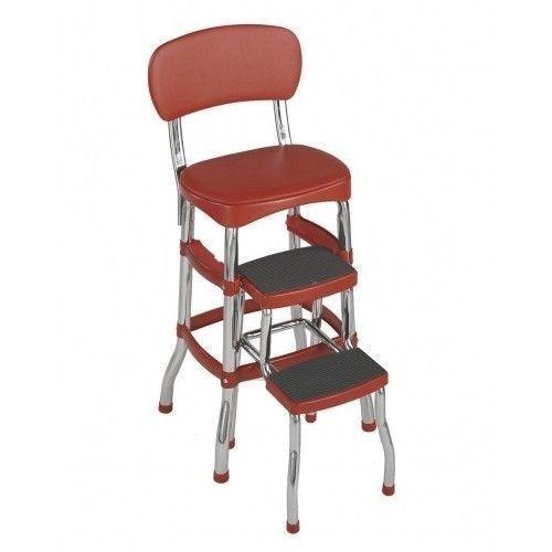 RED Retro Chair/Step Stool,Vintage Kitchen Ladder, Folding, Chrome, Bar, New
