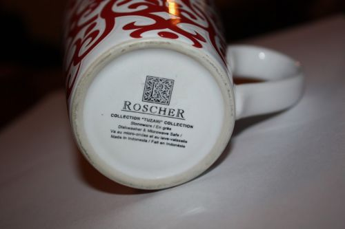 ROSCHER TUZANI Red & White Scroll Coffee Cup Mug