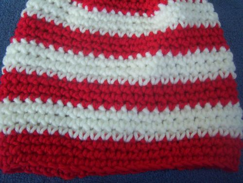 Hand Crocheted Red and White Stripe Single Crochet Baby Hat