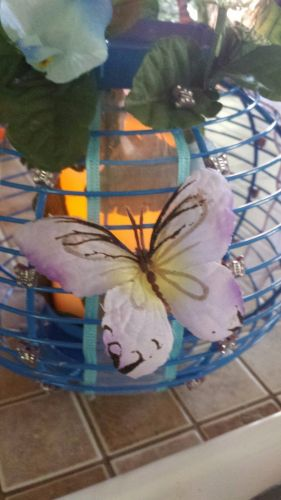 butterfly lantern/centerpiece, blue and lilac handmade candle included