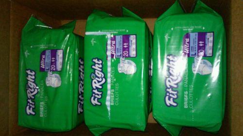 3 Packs 60ct Medline Fit Right Briefs Lot Adult Diapers Large Men/Women L Briefs
